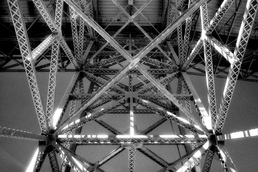Under girders straight up. The Golden Gate Bridge. Kodak Black & White Infrared Film(C)1995 :  : Christopher Davies Photography