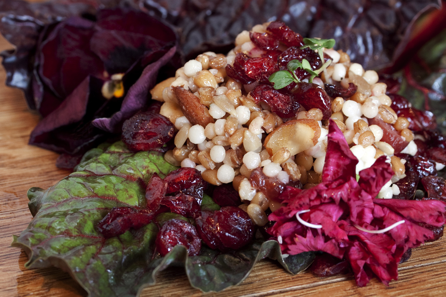 Taboule on red chard :  : Christopher Davies Photography