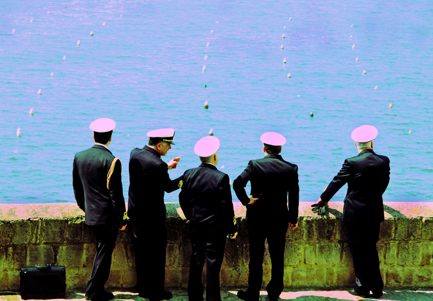 Naples, Italy, Italian Navel Officers view the seaport :  : Christopher Davies Photography