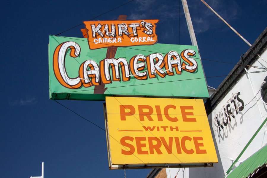 Kurt's Camera Corral sign on RT 66, Albuquerque , New Mexico :  : Christopher Davies Photography
