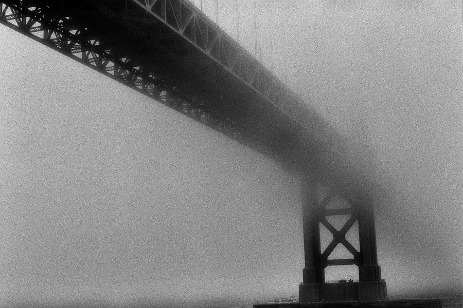 Fog view#1.The Golden Gate Bridge. Kodak Black & White Infrared Film(C)1995 :  : Christopher Davies Photography