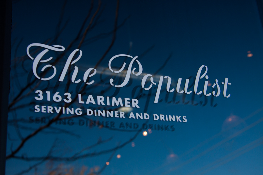 Door sign at The Populist, Denver, CO :  : Christopher Davies Photography